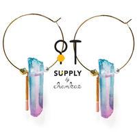 Jewelry kit アクセサリー制作キット/クリスタルのフープピアス