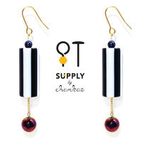 Jewelry kit アクセサリー制作キット/ヴィンテージ ストライプビーズのピアス(イヤリング変更可)