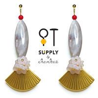 Jewelry kit アクセサリー制作キット/扇と貝ビーズのオリエンタルなピアス(イヤリングに変更可)