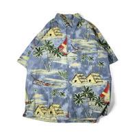 Cherokee Waikiki Wear / Hawaiian Half Sleeve Shirt / Blue / Used