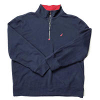 NAUTICA /Cotton Half Zip Fleece/Navy/Used