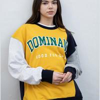 【UNISEX】DOMINANT(ドミナント)COLOR INCISION SWEAT SHIRT(YELLOW) 商品番号 DMNT21SS-0001-0【正規品】ユニセックス