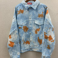 スタンダードロゴ刺繍タイダイデニムジャケット ブルーブラウン