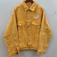 スカーフロゴ刺繍後染めカラーデニムジャケット オレンジ