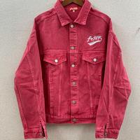 スカーフロゴ刺繍後染めカラーデニムジャケット ピンク