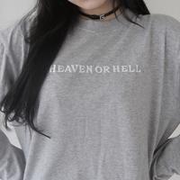 Heaven or Hell long T-shirt  [gray]