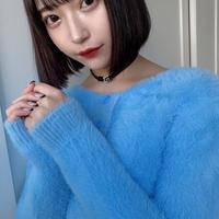 【BLUE】フッワフワニットカーディガン