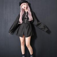 【BLACK】コルセットシャツワンピース