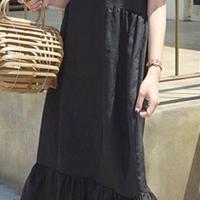 レディース 海外 インポート ブラック コットン 袖 付き フリル マキシ ワンピース ドレス ロング