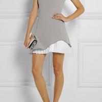 海外インポートセレクトグレーホワイトプリーツデザインミニワンピースドレス海外セレブファッション
