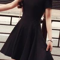海外インポートブラックシンプルフレアーデザインワンピースドレス