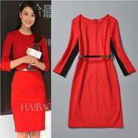 海外インポートセレクトレッドブラックバイカラーデザイン膝丈ワンピースドレス赤色