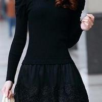 レディース ビジュー ライン ストーン 襟 付き ワンピース ドレス ミニ 長袖 黒