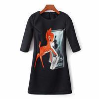 海外インポートセレクトブラックバンビプリントデザインワンピースドレス黒