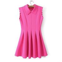海外インポートセレクトショッキングピンク襟付き波型デザインプリーツミニワンピースドレス