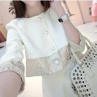 海外インポートセレクトホワイト×ゴールド箔ジャケット&スカートセットアップスーツ白