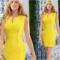 海外インポートセレクトイエローカッティングデザインミニワンピースドレス黄色