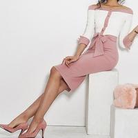 レディース 海外 インポート ホワイト ピンク オフショル 腰ひも ベルト 付き ワンピース ドレス