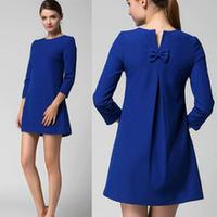 海外インポートセレクトロイヤルブルーワンピースドレス青色