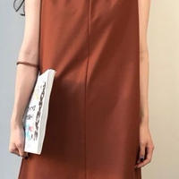 レディース 海外 インポート ブラウン キャメル シンプル タンク ワンピース ドレス 茶色