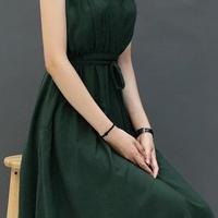 海外インポートセレクトグリーンカーキコットンミディミモレ丈シンプルワンピースドレス緑色