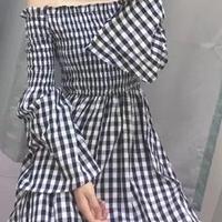 レディース 海外 インポート ギンガム チェック オフショル コットン ミモレ丈 ワンピース ドレス