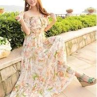 海外インポートホワイト系フラワー花柄フリルオフショルダーマキシワンピースドレス