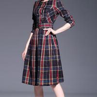 海外インポートグリーンタータンチェックミモレ丈ベルト付上品ワンピースドレス