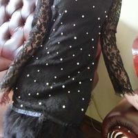 レディース ブラック ファー パール 付き レース ワンピース パーティー ドレス