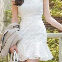 レディース 海外 インポート ホワイト フリル プリーツ ワンピース ドレス ミニ 白