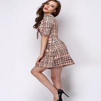 海外インポートセレクトベージュブラックチェックデザインタイ付上品フレアーワンピースドレス
