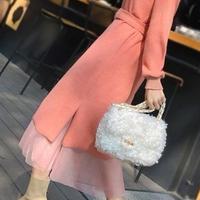 レディース ピンク ニット チュール ベルト 付き ワンピース 長袖