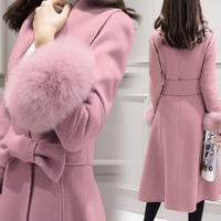 海外 インポート ベビー ピンク 裾 ファー 腰ひも 付き ウール 混 フレアー ドレス コート
