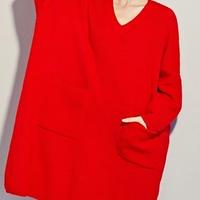 レディース レッド ざっくり 大きめ ニット セーター ワンピース 長袖 赤 F