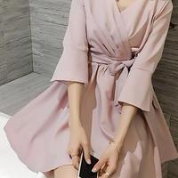 海外 インポート セレクト ベビー ピンク フレアー スリーブ ワンピース ドレス かわいい