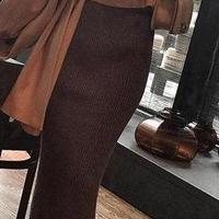海外 インポート ベージュ ニット トップス セーター ブラウン ミディ 膝下 丈 スカート セットアップ ワンピース