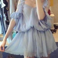 海外 インポート セレクト パステル ブルー オープンショルダー ワンピース ドレス 水色