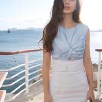 海外インポートセレクト水色サテントップススカートセットアップワンピースドレス