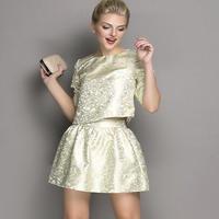 海外インポートセレクトフラワーゴールドシルバーデザインセットアップワンピースドレス