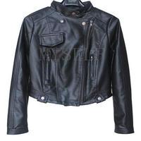 海外インポートセレクトブラックライダースレザー風ジャケットコート黒色
