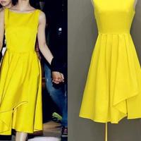 海外インポートイエローカラーフレアーミモレ丈 ワンピースドレス黄色