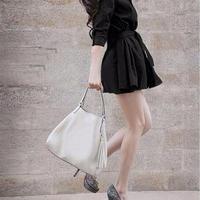 海外インポートセレクトブラックフレアーデザインシャツワンピースドレス黒色