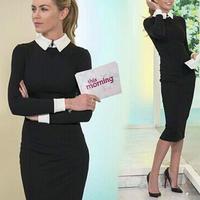 海外インポートセレクトブラックホワイト襟付きミモレミディー丈ワンピースドレス