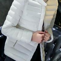 海外 インポート ホワイト ショート丈 ダウン ジャケット コート 白 アウター