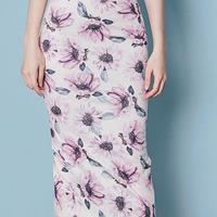 レディース 海外 インポート ピンク パープル フラワー デザイン ミディ丈 ワンピース ドレス 花柄