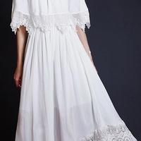 海外 インポート セレクト ホワイト シフォン オフショルダー デザイン マキシ ワンピース ドレス ロング 白