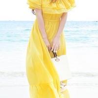 海外インポートイエローフリルオフショルダーマキシワンピースドレス黄色