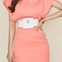 レディース サーモン ピンク デザイン ベルト 付き フリル デザイン ワンピース ドレス ミニ