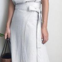 レディース 海外 インポート ホワイト トップス 巻 スカート ミモレ丈 セットアップ ワンピース ドレス