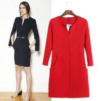 海外インポートセレクトポンチョ風デザインレッドワンピースドレス長袖赤